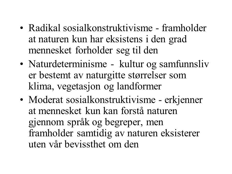 Radikal sosialkonstruktivisme - framholder at naturen kun har eksistens i den grad mennesket forholder seg til den