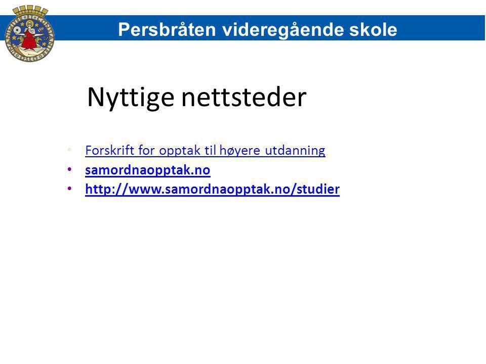 Nyttige nettsteder Persbråten videregående skole