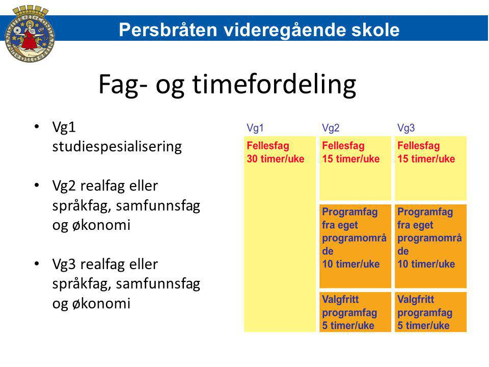 Fag- og timefordeling Persbråten videregående skole