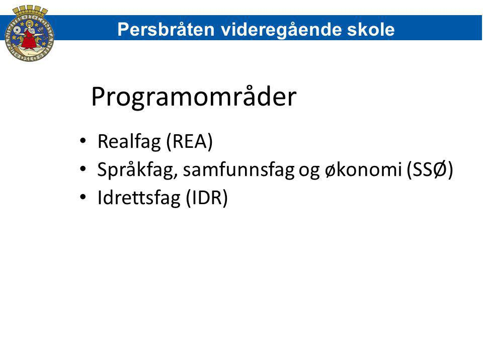Programområder Realfag (REA) Språkfag, samfunnsfag og økonomi (SSØ)