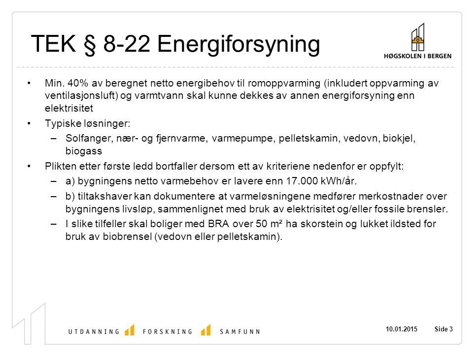 TEK § 8-22 Energiforsyning