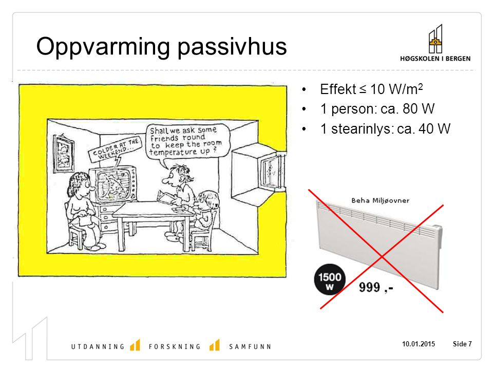 Oppvarming passivhus Effekt ≤ 10 W/m2 1 person: ca. 80 W