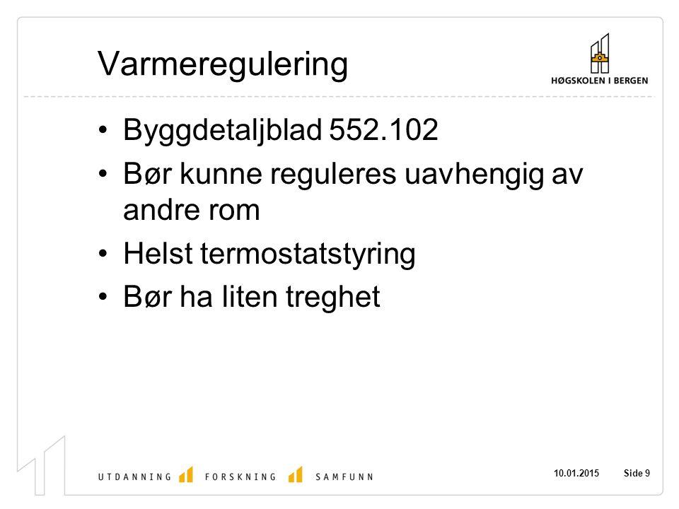 Varmeregulering Byggdetaljblad 552.102