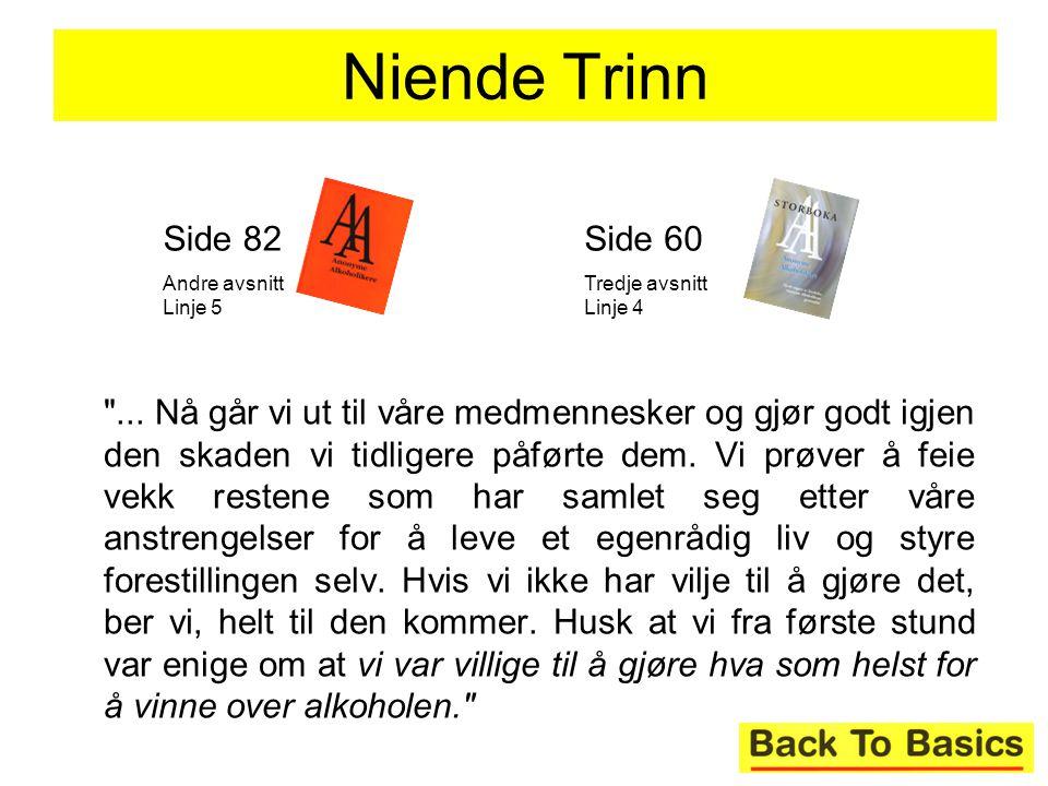Niende Trinn Side 82. Andre avsnitt Linje 5. Side 60. Tredje avsnitt Linje 4.
