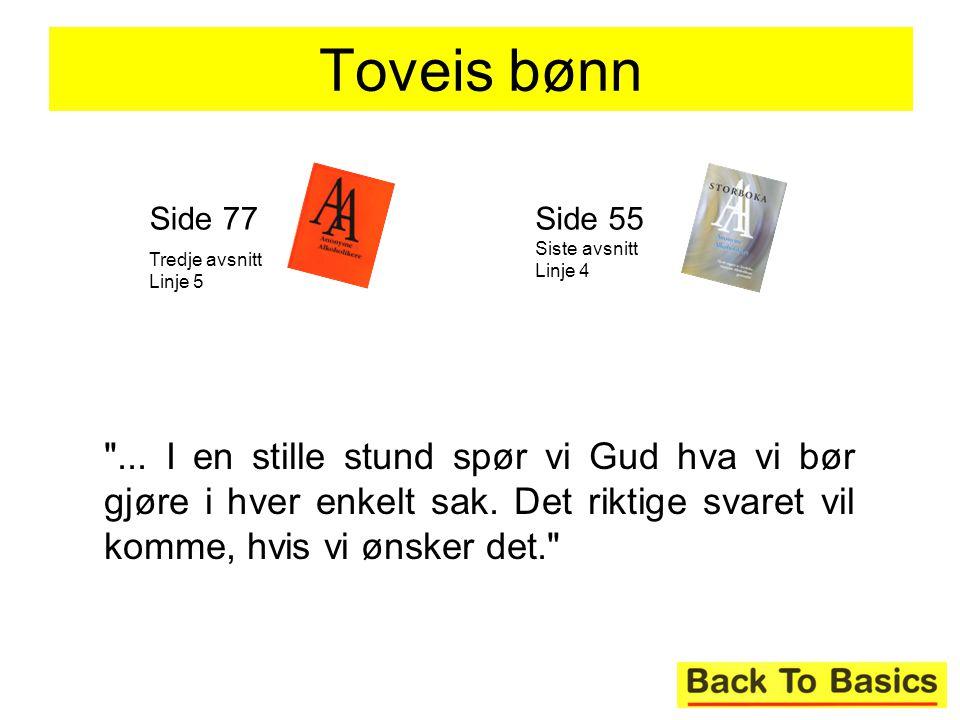 Toveis bønn Side 77. Tredje avsnitt Linje 5. Side 55 Siste avsnitt Linje 4.