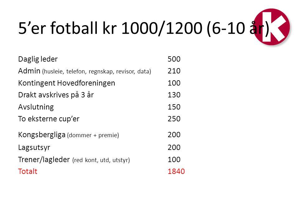 5'er fotball kr 1000/1200 (6-10 år)