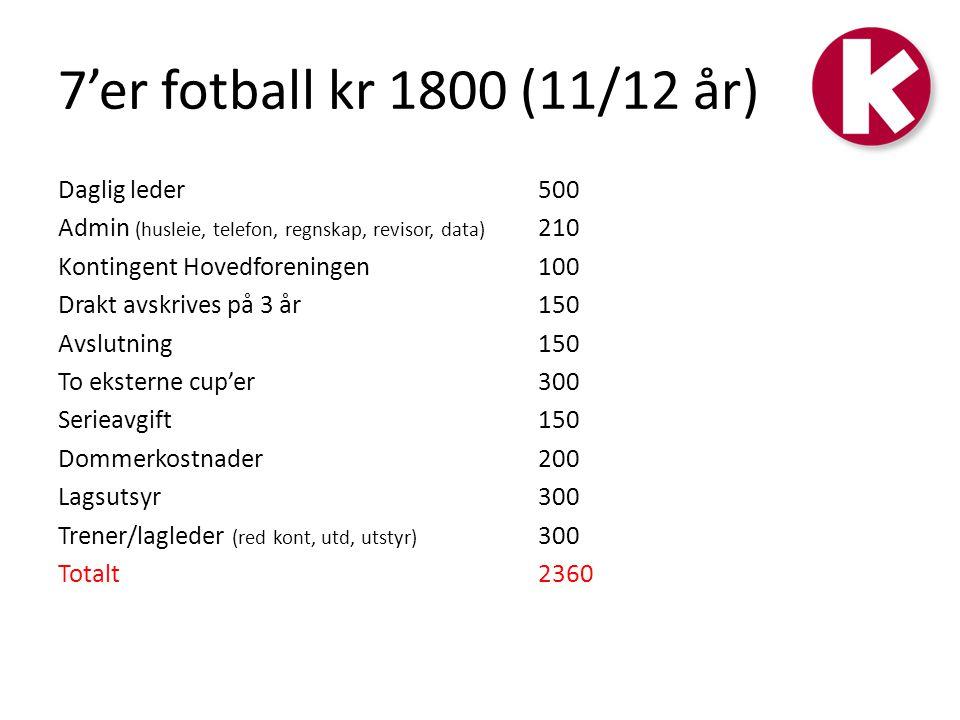 7'er fotball kr 1800 (11/12 år)