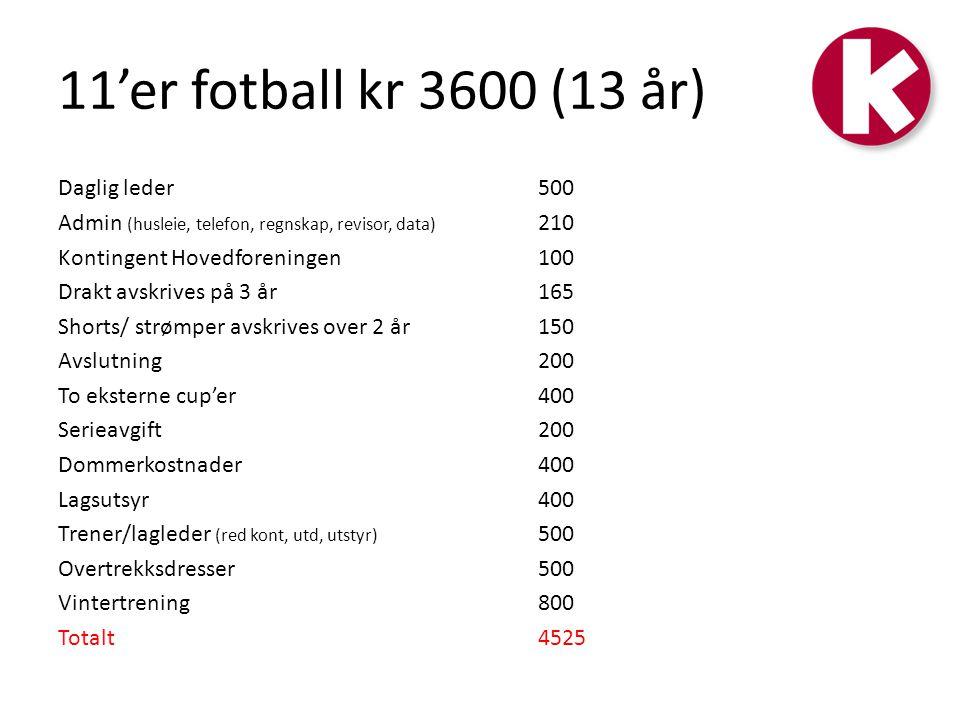 11'er fotball kr 3600 (13 år)
