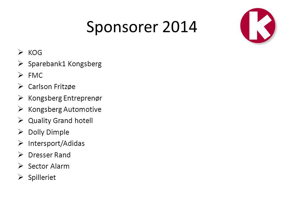 Sponsorer 2014 KOG Sparebank1 Kongsberg FMC Carlson Fritzøe