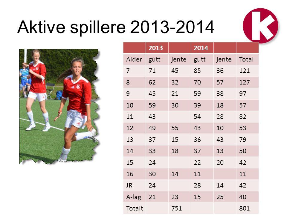 Aktive spillere 2013-2014 2013 2014 Alder gutt jente Total 7 71 45 85