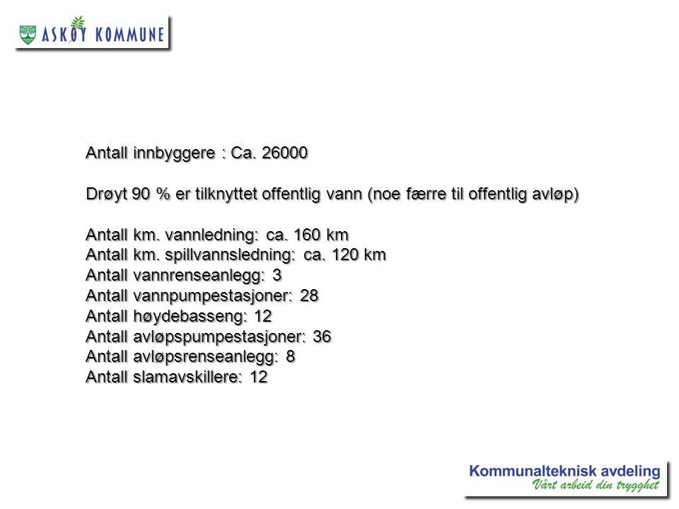 Antall innbyggere : Ca. 26000 Drøyt 90 % er tilknyttet offentlig vann (noe færre til offentlig avløp)