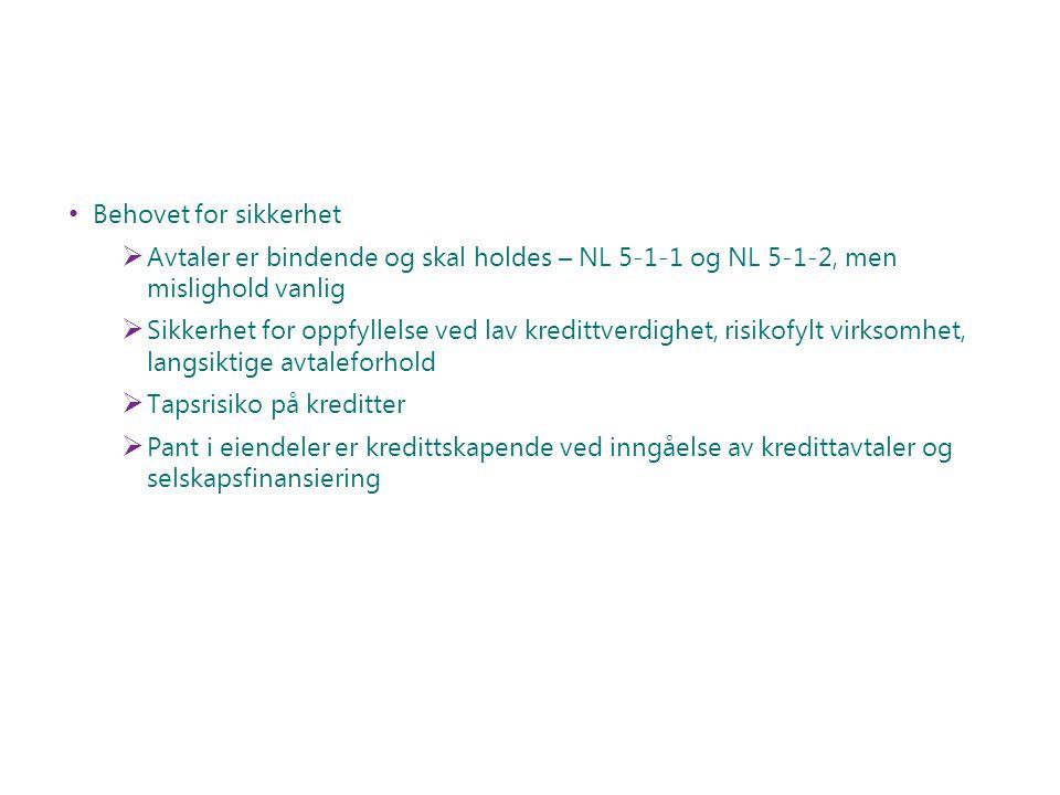 Behovet for sikkerhet Avtaler er bindende og skal holdes – NL 5-1-1 og NL 5-1-2, men mislighold vanlig.