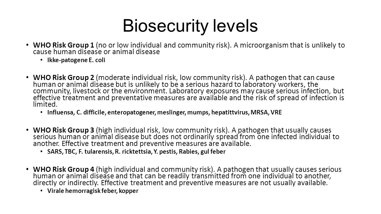 Biosecurity levels