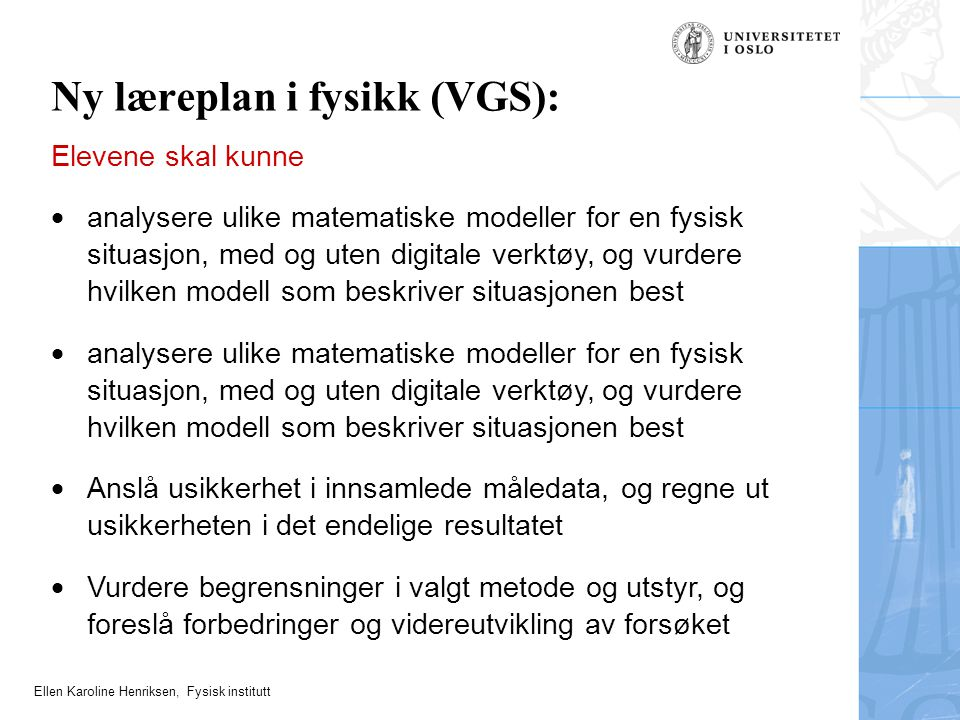 Ny læreplan i fysikk (VGS):