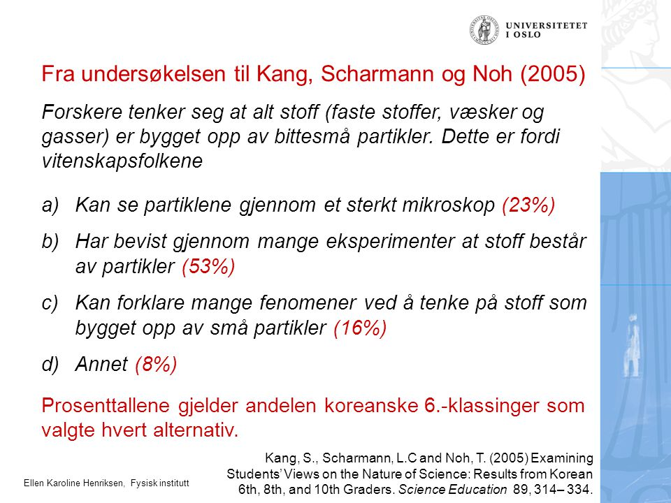Fra undersøkelsen til Kang, Scharmann og Noh (2005)