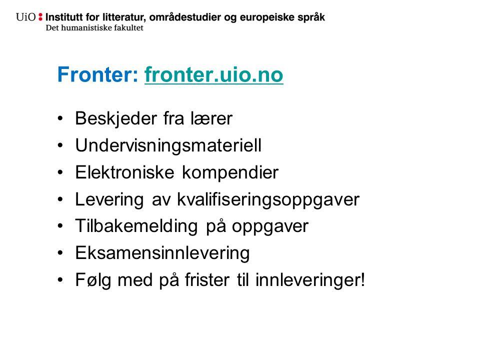 Fronter: fronter.uio.no