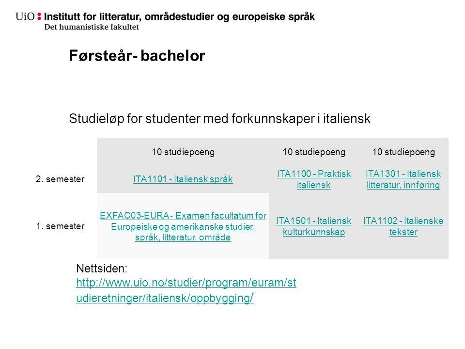 Førsteår- bachelor Studieløp for studenter med forkunnskaper i italiensk. 10 studiepoeng. 2. semester.