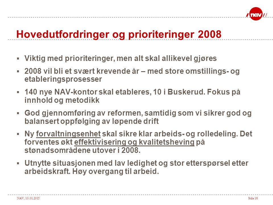 Hovedutfordringer og prioriteringer 2008