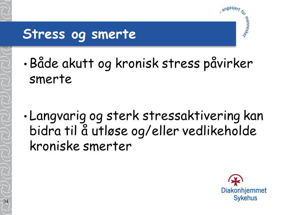 Stress og smerte Både akutt og kronisk stress påvirker smerte