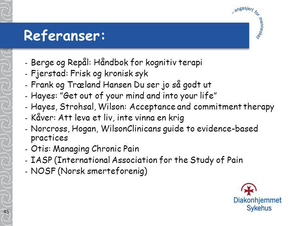 Referanser: Berge og Repål: Håndbok for kognitiv terapi
