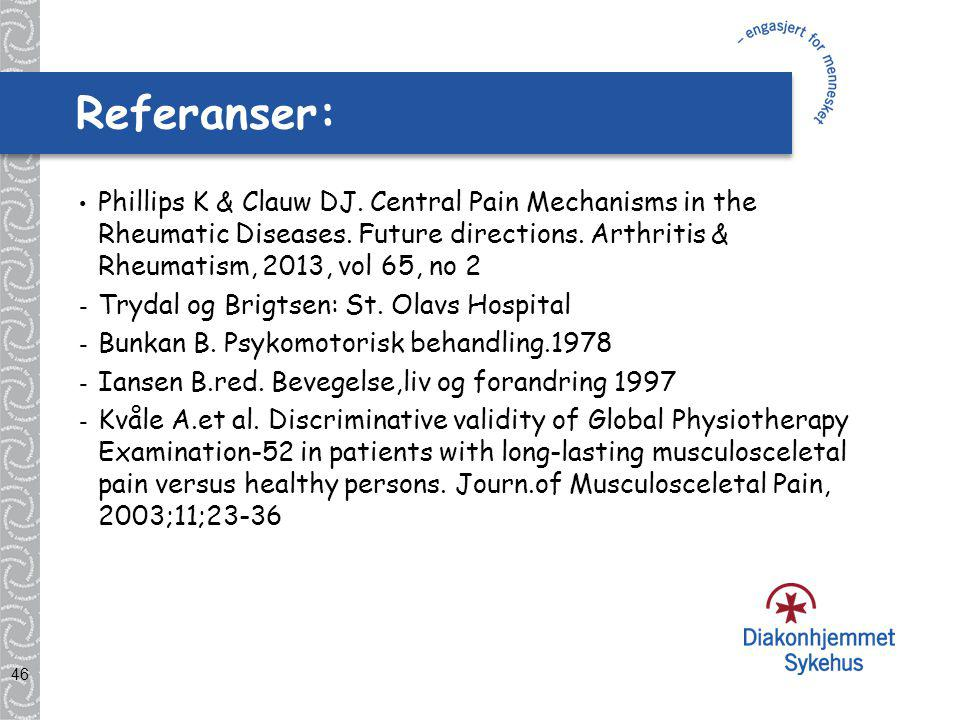 Referanser: Phillips K & Clauw DJ. Central Pain Mechanisms in the Rheumatic Diseases. Future directions. Arthritis & Rheumatism, 2013, vol 65, no 2.