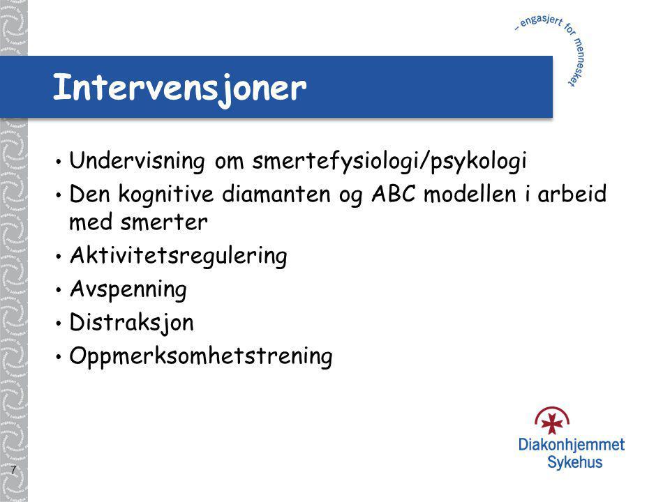 Intervensjoner Undervisning om smertefysiologi/psykologi
