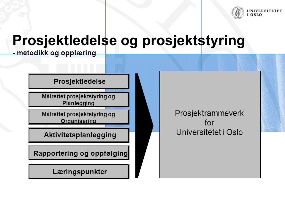 Prosjektledelse og prosjektstyring - metodikk og opplæring