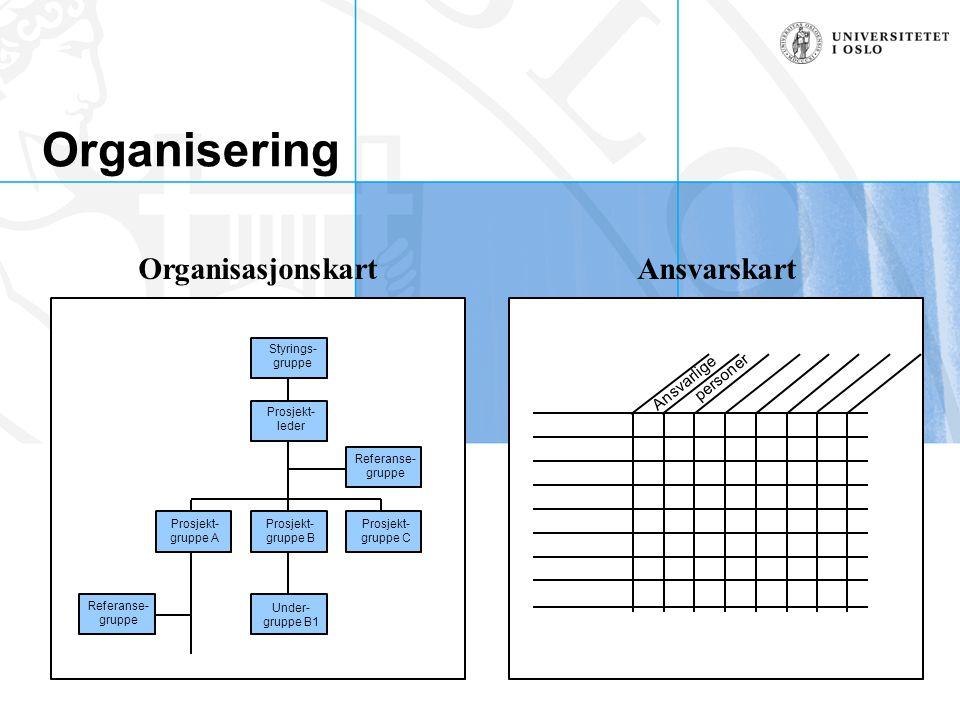 Organisering Organisasjonskart Ansvarskart Ansvarlige personer