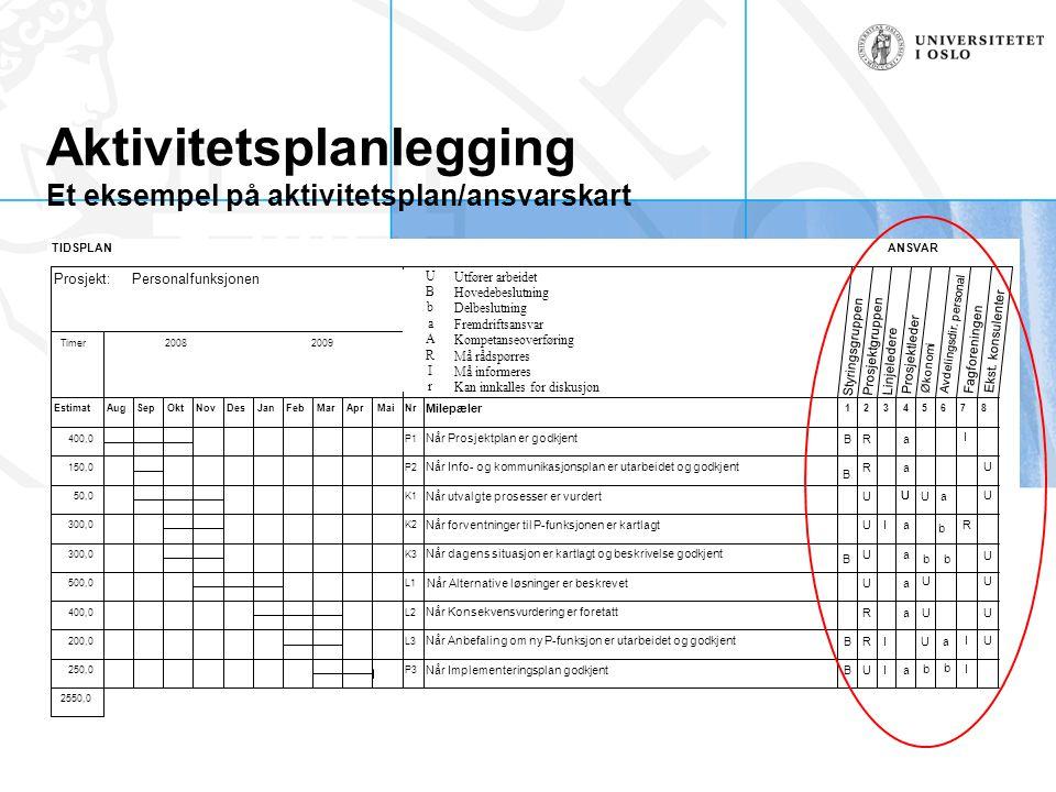 Aktivitetsplanlegging Et eksempel på aktivitetsplan/ansvarskart