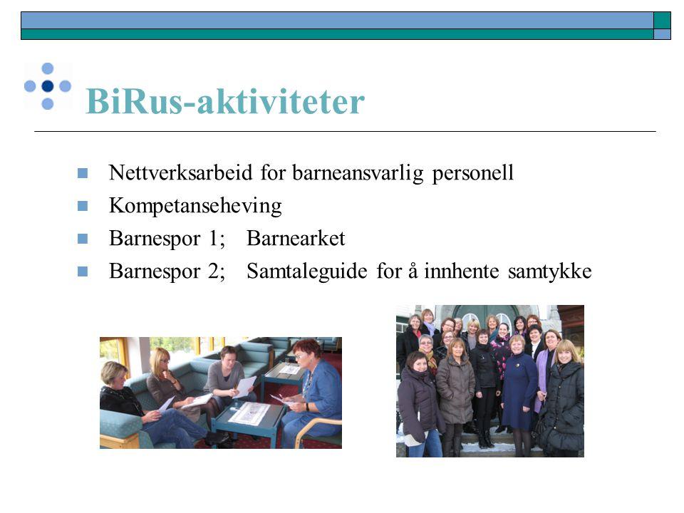 BiRus-aktiviteter Nettverksarbeid for barneansvarlig personell