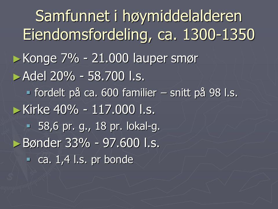 Samfunnet i høymiddelalderen Eiendomsfordeling, ca. 1300-1350