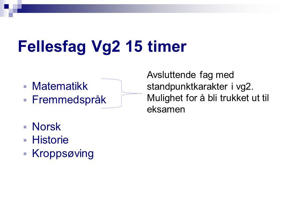 Fellesfag Vg2 15 timer Matematikk Fremmedspråk Norsk Historie