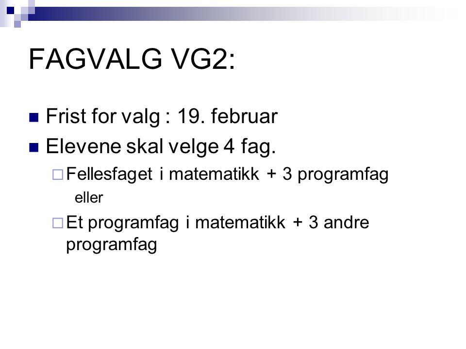 FAGVALG VG2: Frist for valg : 19. februar Elevene skal velge 4 fag.