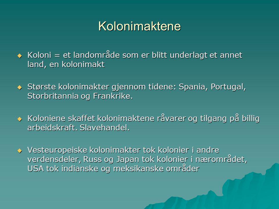 Kolonimaktene Koloni = et landområde som er blitt underlagt et annet land, en kolonimakt.