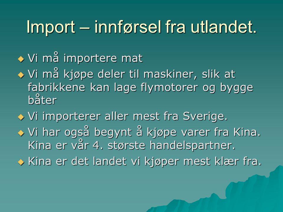 Import – innførsel fra utlandet.