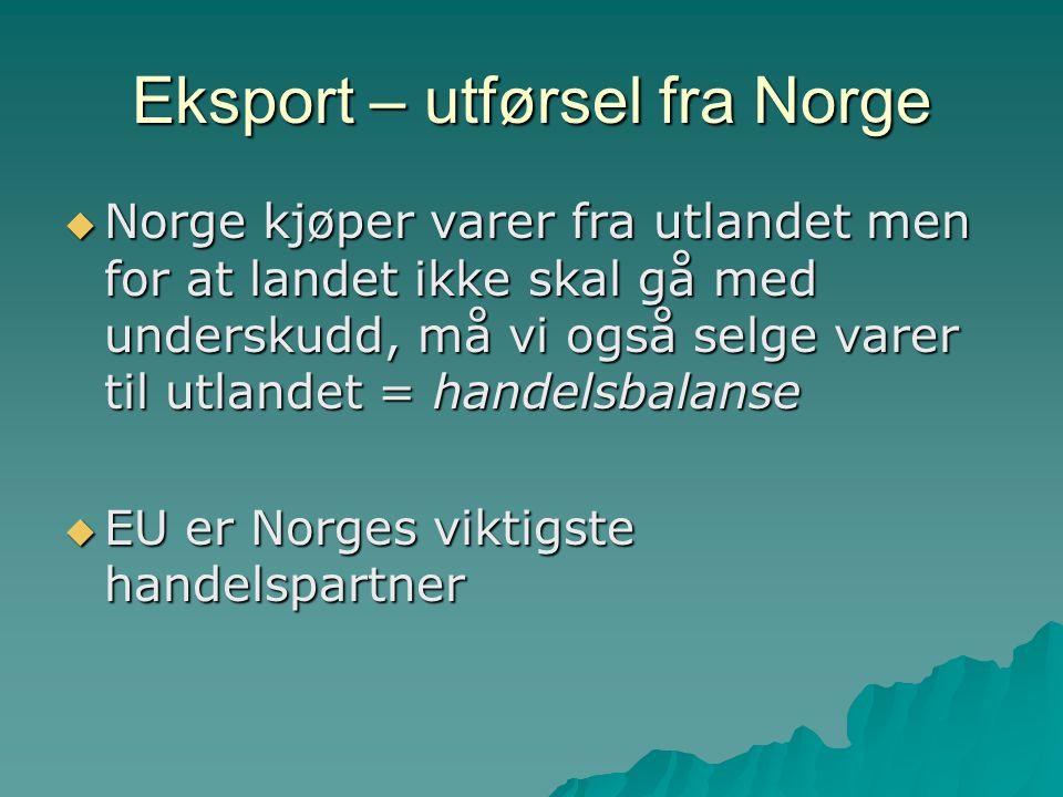 Eksport – utførsel fra Norge