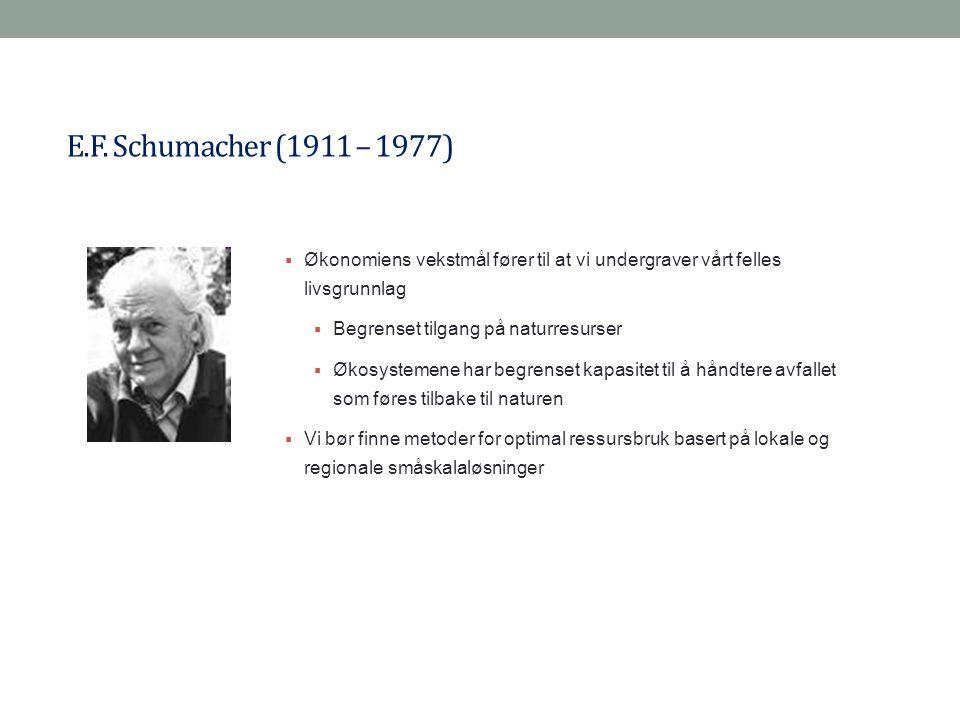 E.F. Schumacher (1911 – 1977) Økonomiens vekstmål fører til at vi undergraver vårt felles livsgrunnlag.