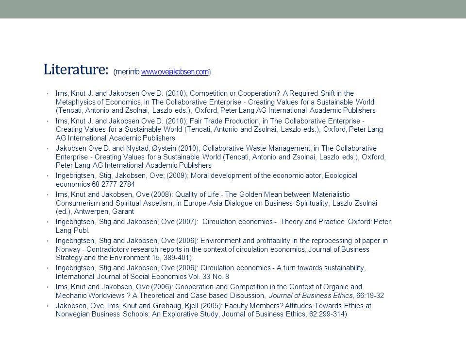 Literature: (mer info. www.ovejakobsen.com)