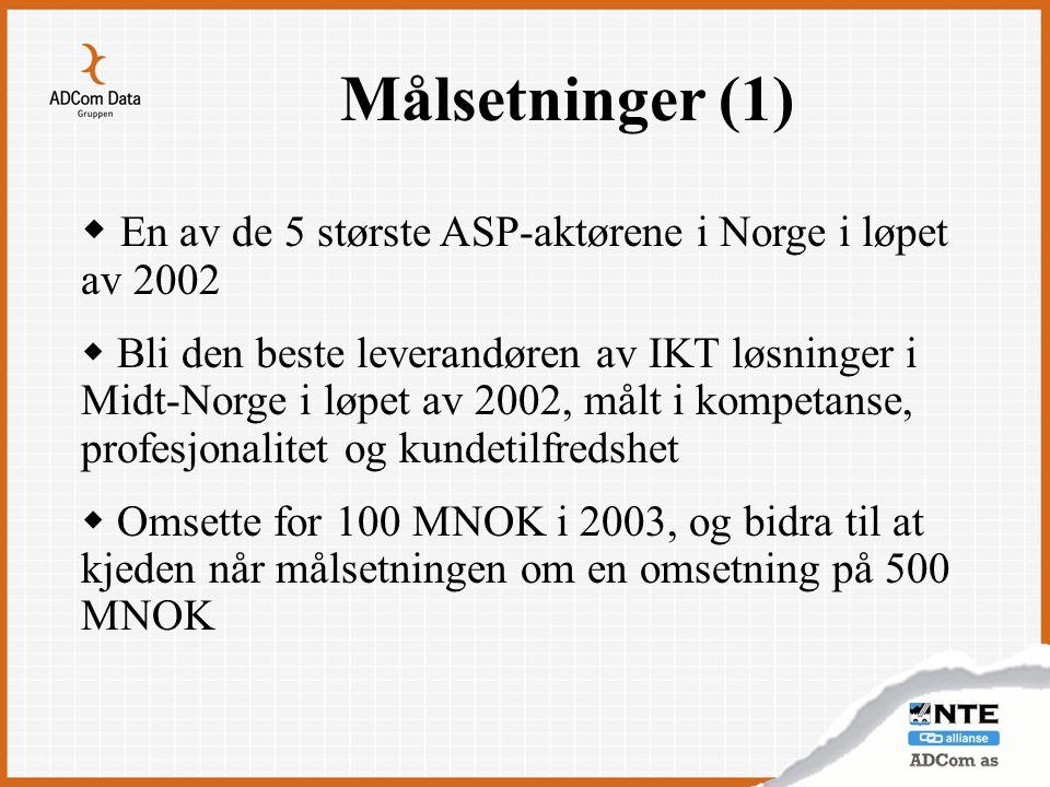 Målsetninger (1) En av de 5 største ASP-aktørene i Norge i løpet av 2002.