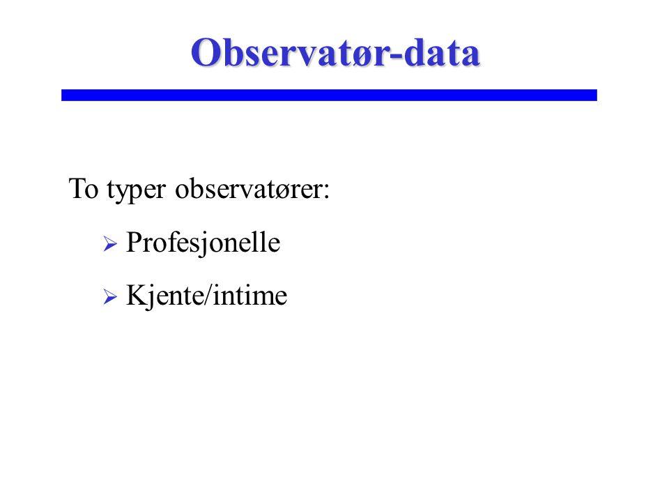 Observatør-data To typer observatører: Profesjonelle Kjente/intime