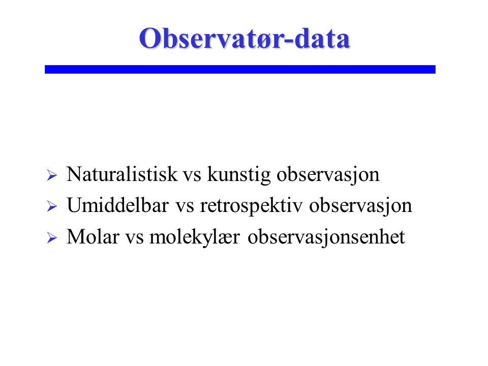 Observatør-data Naturalistisk vs kunstig observasjon