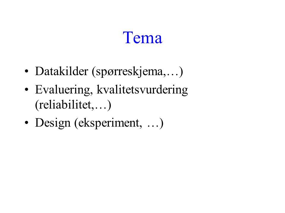 Tema Datakilder (spørreskjema,…)