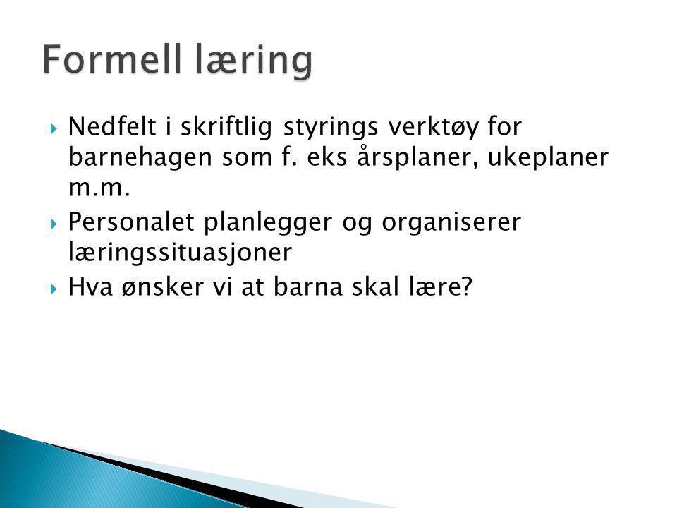 Formell læring Nedfelt i skriftlig styrings verktøy for barnehagen som f. eks årsplaner, ukeplaner m.m.