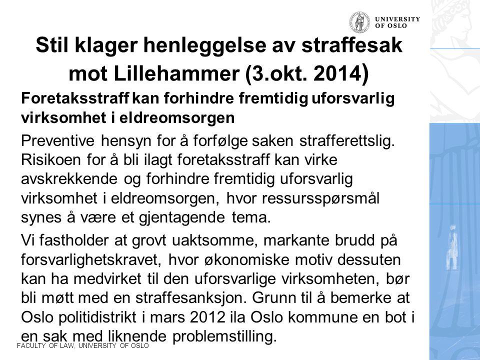 Stil klager henleggelse av straffesak mot Lillehammer (3.okt. 2014)
