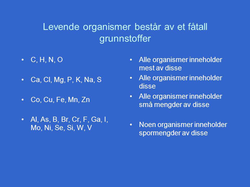 Levende organismer består av et fåtall grunnstoffer