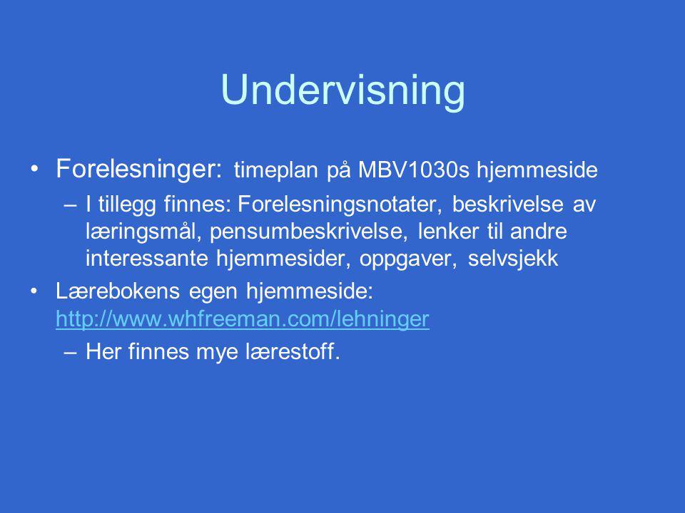 Undervisning Forelesninger: timeplan på MBV1030s hjemmeside