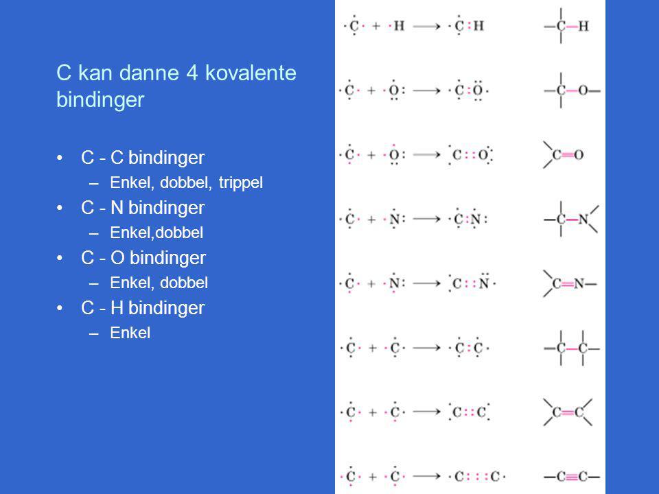 C kan danne 4 kovalente bindinger