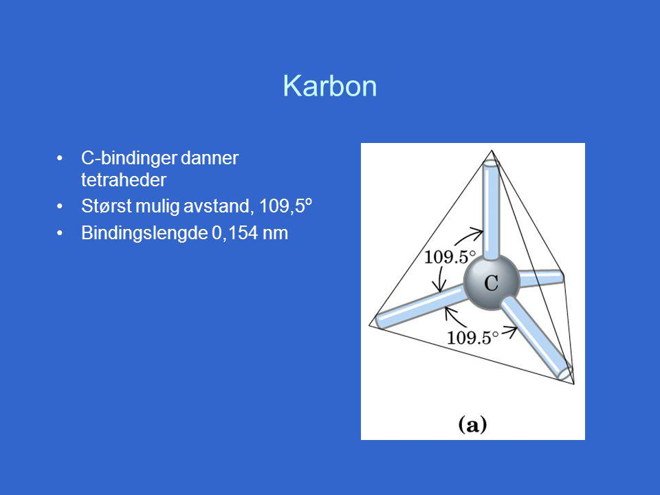 Karbon C-bindinger danner tetraheder Størst mulig avstand, 109,5o