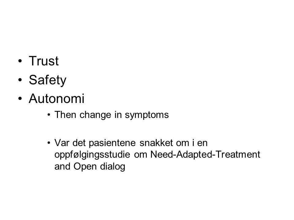 Trust Safety Autonomi Then change in symptoms