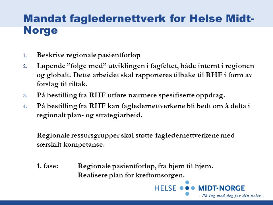 Mandat fagledernettverk for Helse Midt-Norge
